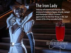 Save Game's Dragon Age: Inquisition Cocktails - The Iron Lady (Vivienne) - Recipe: oz Strawberry Liqueur, oz Brandy, oz Campari, Fill with Rose Champagne, Garnish with a Hibiscus Flower. Vivienne Dragon Age, Game Cocktail, Nerd Party, The Iron Lady, Dragon Age Games, Dragon Age Series, Rose Champagne, Dragon Age Inquisition, Dragons