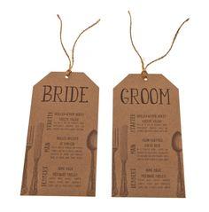 Kraft card Wedding stationery table menu cards. www.razzledazzlerose.co.uk