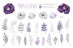 Purple & Silver floral collection by OctopusArtis on Creative Market