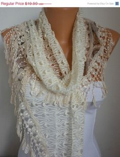 Lace Scarf   scarf shawl  Sale scarf  Silvery  Free scarf by anils, $17.91