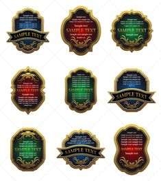 Set of golden vintage labels
