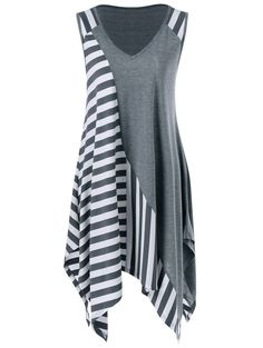 $6.81Sleeveless Striped Trim Handkerchief Longline T-Shirt in Grey And White | Sammydress.com