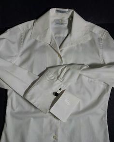 "NEW Crisp White Career Blouse Long Sleeve with Cufflinks Bill Blass Chest 38"" #BillBlassPremium #LightWeightCareerShirt #Career"