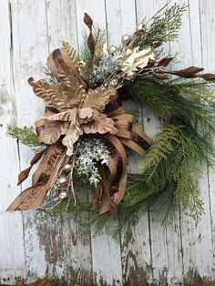 Pine Christmas Wreath for Door, Country Christmas Wreath, Brown Christmas Wreath This wreath is designed on a grapevine base with a variety