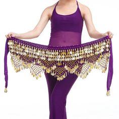 New Belly Dance Belt Velvet & Golden Coins Hip Scarf Belt 11 colors Belly Dance Scarf, New Style Tops, Bleu Violet, Rave Costumes, Scarf Belt, Spandex Dress, Dance Outfits, Dance Wear, Nice Dresses