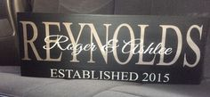 Last Name Wood Sign Established Marriage   eBay