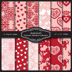 Victorian Valentine Collection Digital Paper Pack for valentine's day, cards, stationary, invitations, scrapbooking and all paper crafts on Etsy, $3.99
