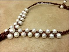 SALE  Leather and Pearl Necklace  WaRuNe g38 by AdiDesigns on Etsy, $68.00