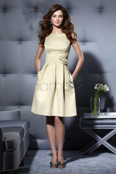 A Linie Rechteck Reißverschluss Mitte Rücken kniehohes einfaches informelles & legeres Brautjungfernkleid