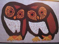 "Vtg Crewel Embroidery Kit Owls Two Hoots Bernat New in Package 16 x 25"" S0 8078 #Bernat"