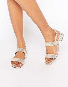 2b17c562659ce3 Image 1 of Dune Ninah Gold Mid Jewel Heel Sandals Hunter Wellies