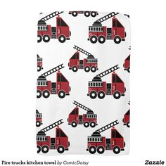 Shop Fire trucks kitchen towel created by ComicDaisy. Red Kitchen, Country Kitchen, Black Fire, Truck Design, Kitchen Towels, Fire Trucks, Art For Kids, Color Schemes, Personalized Gifts