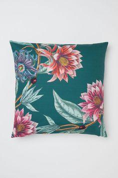 Kussenhoes met dessin - Donkergroen/bloemen - HOME   H&M NL 1