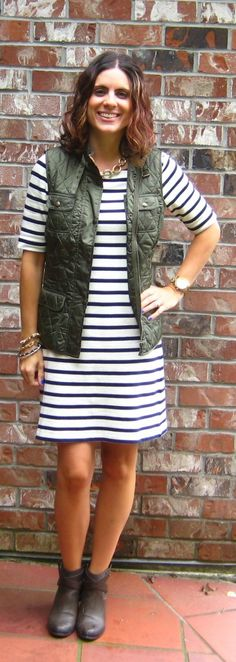 Olive vest + stripes + booties.