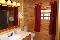 Oak Valley Full Bathroom. www.valleyviewcabins.com #HockingHills #HotTub #LogCabin