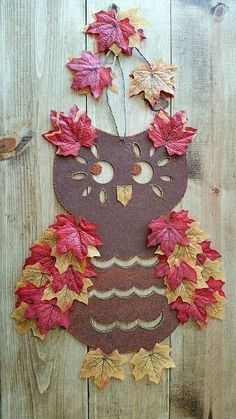 cute kid craft for fall .crafts fall dollar store owl, crafts, doors, home decor, seasonal holiday decor Autumn Crafts, Fall Crafts For Kids, Thanksgiving Crafts, Holiday Crafts, Holiday Decor, Fall Halloween, Halloween Crafts, Fall Owl, Owl Crafts