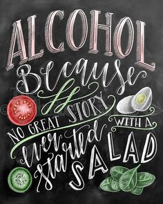 Alcohol Sign Wedding Sign Chalkboard Art Chalk Art por TheWhiteLime