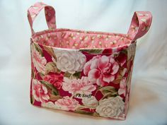 PK Fabric Basket in Packed Camellias in Rose - Storage Basket - Diaper Caddy - Ready To Ship - Reversible