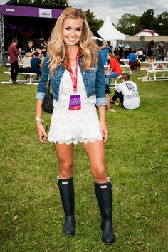 She's a regular V Festival fan, Katherine Jenkins came well prepared with her Hunter wellies.