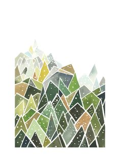 """Landscape of Triangles and Dots"" - Painting Limited Edition Art Print by Yao Cheng Design - Wall Design Abstract Shapes, Geometric Shapes, Abstract Art, Abstract Landscape, Wall Art Prints, Fine Art Prints, Triangle Art, Unique Wall Art, Hand Painting Art"