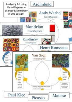 Save 58%!!!<br /> <br /> 16 Art Analysis venn diagrams. A brilliant and easy way to incorporate literacy and maths into your lessons.<br /> <br /> Artists include:<br /> Arcimboldo, Franz Marc, Henri Rousseau, Kandinsky, Matisse (x3), Mondrian, Paul Klee...