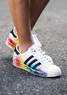 Adidas superstar sneakers when rainbow paint splatter