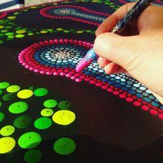 work in progress dot art #painting #dots #art #dotting #pink #green