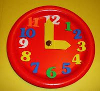 paper plate clock w/ sticky foam numbers