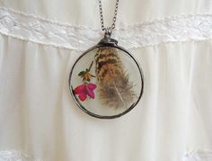 bohemian necklace Natural feather boho jewelry by MARIAELA on Etsy, $42.00