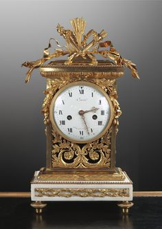 18th century.Louis XVI ormolu and marble clock - 18th century
