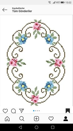 Beaded Cross Stitch, Cross Stitch Rose, C2c Crochet, Crochet Patterns, Crochet Bedspread, Cross Stitch Designs, Needlepoint, Garland, Free Pattern