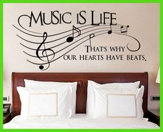 Music Is Life That's Why Our Hearts Have Beats Vinyl Wall Sticker, Decor Decal/Free shipping