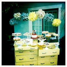 Teal and Yellow Mini Dessert Bar - love this!