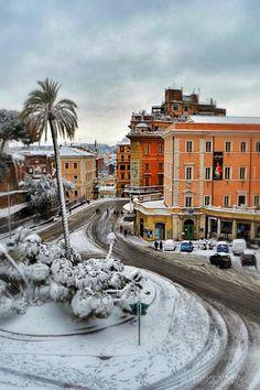Snow in Rome, Italy