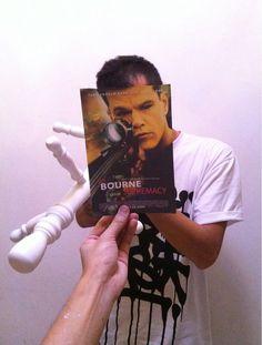 Have you Matt my gun? It makes Damon (the men) run away like cowards. #MattDamon  #bourneSupremacy