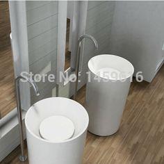 Bathroom Round Pedestal Washbasin Solid Surface Stone Cloakroom Freestanding Vanity Sink W9004