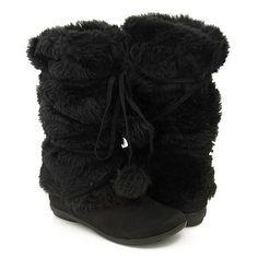 d6af471654e7 Amazon.com  Mukluks Soft Furry Pom-pom Snow Winter Flat Boot Black