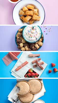 Snacks 4 Ways snacking nostalgia is strong with our homemade Fruit Roll Ups, Pizza Bites, Uncrustables & Dunkaroos. Yummy Snacks, Yummy Treats, Delicious Desserts, Snack Recipes, Dessert Recipes, Cooking Recipes, Yummy Food, Snacks Homemade, Pizza Recipes