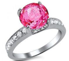 2.16ct Pink Sapphire Round Diamond Engagement Ring 18k White Gold Front Jewelers