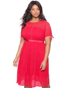 Studio Eyelet Midi Dress | Women's Plus Size Dresses | ELOQUII
