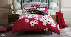 Red, Black, and White. Kas Mika Duvet Cover, Cotton - Bed Bath & Beyond Bedroom Red, Dream Bedroom, Bedroom Decor, Master Bedroom, Bedroom Ideas, Red Bedrooms, Dream Rooms, Bedroom Inspiration, Cute Duvet Covers