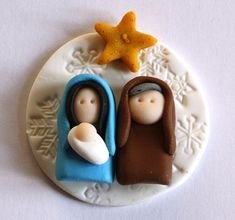 Nativity polymer clay/fimo embellishment/magnet by AngelsNestEtsy: