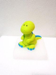 T-Rex Dinosaur Fondant Cake Topper Birthday Baby Shower Lime Green Blue Custom Color Option Dinosaur Cake Toppers, Dino Cake, Dinosaur Birthday Cakes, Dinosaur Party, Fondant Decorations, Character Cakes, Modeling Chocolate, Baby Shower, Fondant Figures