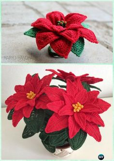 Crochet Christmas Poinsettia Flower Bouquet Free Pattern-Crochet 3D Flower Bouquet Free Patterns
