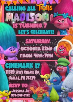 TROLLS birthday party invitation Make their birthday special with this unique Birthday Party Invitation! ★ Perfect for last minute parties! ★ NO shipping cost! Digital invite is emailed to you ★ You can print as many copies as you'd like -------------------------------------------------------------------------------------- Hello and welcome to Little Kingdom Digital! <PLEASE READ ITEM DESCRIPTION AND SHOP POLICIES BEFORE PURCHASE - BY PURCHASING YOU AGREE YOU HAVE READ, UNDERSTOOD AND…