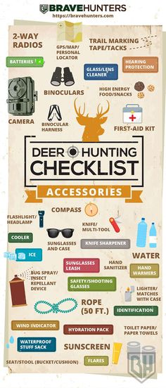 Hunting - Jagd Deer Hunting Checklist - Accesories - Infographic Jogging Strollers & Car Seats For K Bow Hunting Tips, Bow Hunting Deer, Whitetail Deer Hunting, Quail Hunting, Deer Camp, Turkey Hunting, Hunting Gear, Hunting Quotes, Archery Hunting