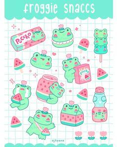AJ Tuana Cute Food Drawings, Cute Little Drawings, Cute Kawaii Drawings, Arte Do Kawaii, Kawaii Art, Stickers Kawaii, Cute Stickers, Cute Food Art, Cute Art