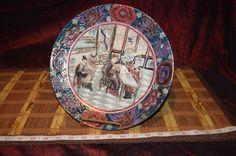 "Asian Porcelain Textured Design Multi-colored Geisha Decorative Plate 10 3/8"""