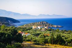 Agios Nikolaos island with Kefaloni island in the background Olympus, Greece, River, Island, Mountains, Nature, Outdoor, Greece Country, Outdoors