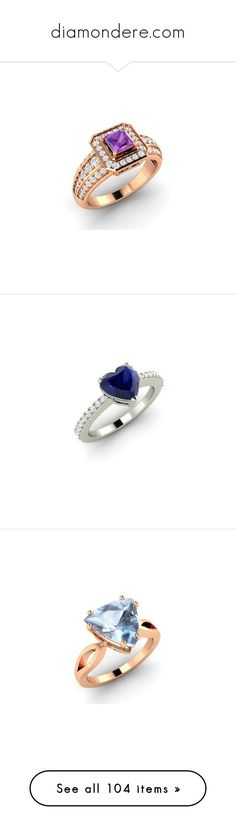 """""""diamondere.com"""" by darlingchick ❤ liked on Polyvore featuring jewelry, rings, princess cut diamond rings, rose gold amethyst ring, 14k diamond ring, pink gold diamond rings, amethyst rings, diamond cocktail rings, heart shaped rings and 14k ring"""